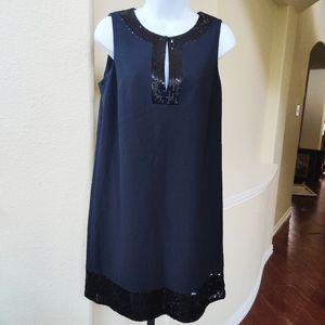 Nine West Sequinned Accented Black Dress